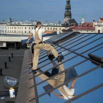 External installation of Kraft OMega 20 Ex on glass roof of ORIGO shopping mall in Riga