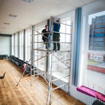 Film installation in height 5m, Solaris979 team on scaffolding