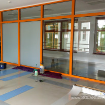 Glass wall in teacing room in school tinted with Kraftfilms White Matte film