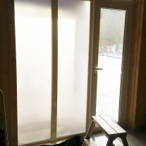 Kraft Films Matte Bronze privacy film on entrance door