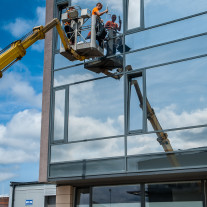 Kraft Omega 30 Ex Mirror Window Film on office building