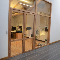 Office glass wall before film installation Kraft Films White Matte and DLX00-01